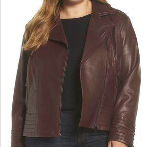 BADGLEY MISCHKA Gia Leather Biker Jacket Coat